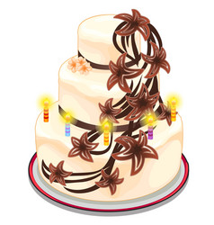 white cake with burning candles and flowers vector image