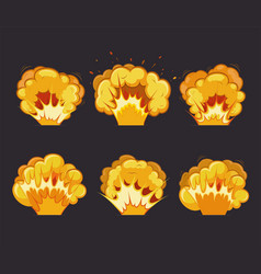 cartoon explosion effects with flash vector image