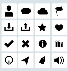 Clean black web icons set 3 vector image vector image