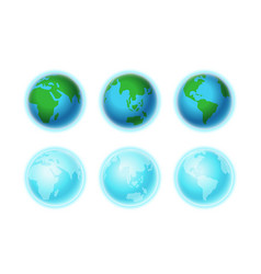 different earth sides isolated on white vector image