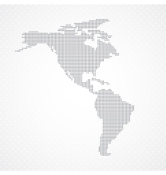 Dots Grey North and South America map background vector image