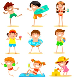kids at the beach vector image vector image