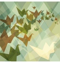 Origami paper birds geometric retro background vector image