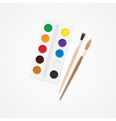 Paintbox and brush Watercolor creative concept vector image vector image