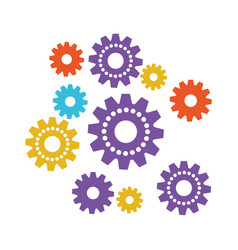 set gear machinery colorful silhouette on white vector image
