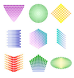 Shapes from dots vector