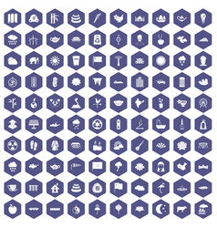 100 lotus icons hexagon purple vector