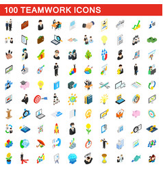 100 teamwork icons set isometric 3d style vector image