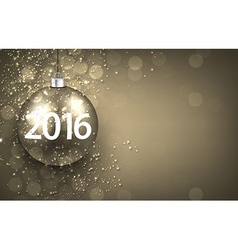 2016 New year golden background with bauble vector image