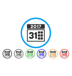 2017 year last month day rounded icon vector