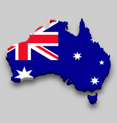 3d isometric map australia with national flag vector
