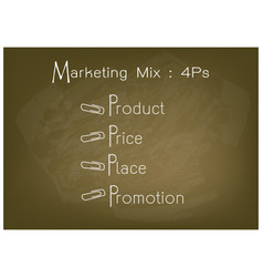 4ps marketing mix model with price product promo vector image