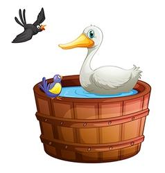 A bathtub with birds vector image