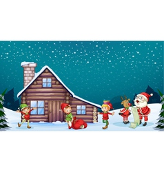 a santa clause kids and a reindeer vector image