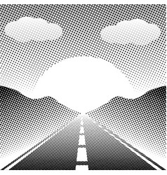 Abstract landscape highway with halftone style vector