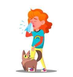 Allergic sneezing girl with a cat vector