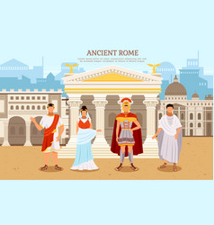 Ancient rome flat poster with person man and woman vector