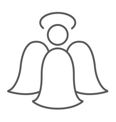 angel thin line icon decoration and christmas vector image