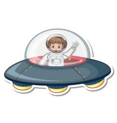 Astronaut girl cartoon character in ufo vector