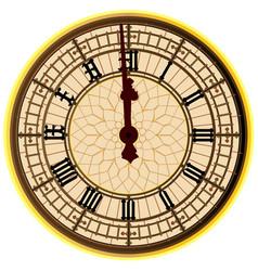 Big ben midnight clock face vector