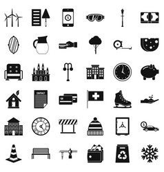 Big villa icons set simple style vector