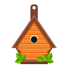 Birdhouse or nesting box isolated icon handmade vector
