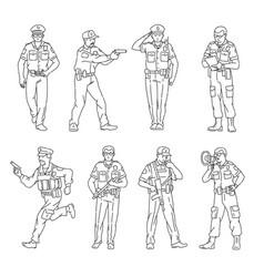 black line male characters set policemen sketch vector image