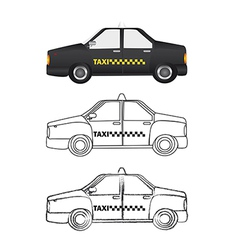 Black taxi and silhouette with grunge over white vector
