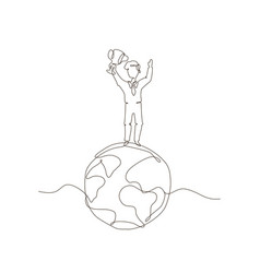 Boy standing on a globe - one line design style vector