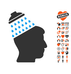 Brain shower icon with dating bonus vector