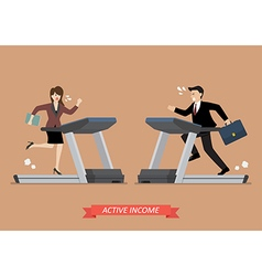 Business man and woman running on a treadmill vector