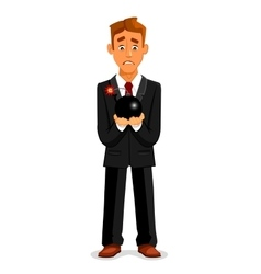 Cartoon businessman with scared look holding bomb vector image vector image