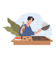 Character cooking dishes in kitchen at home vector