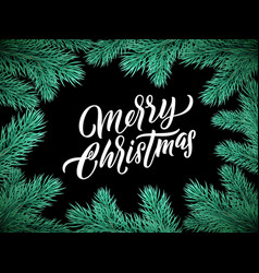 christmas card lettering on black background with vector image