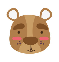 Colorful smile bear head wild animal vector