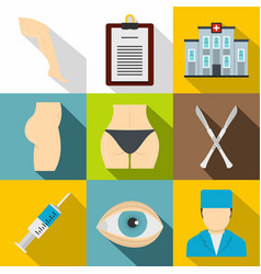 cosmetic surgery icon set flat style vector image