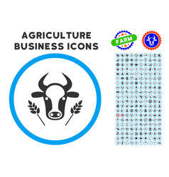 Cow and wheat agriculture rounded icon with set vector