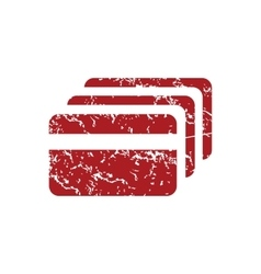 Credit card red grunge icon vector