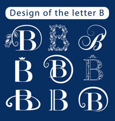 Design of the letter b calligraphic elegant line vector