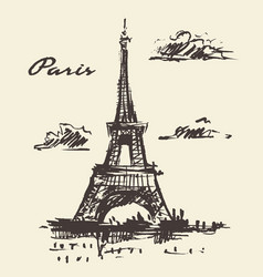 Eiffel tower paris france vintage hand drawn vector