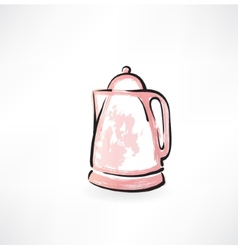 electric kettle grunge icon vector image