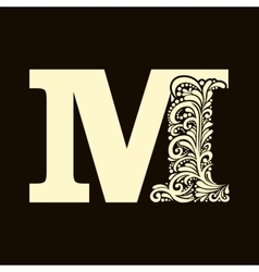 Elegant capital letter m in the style baroque vector