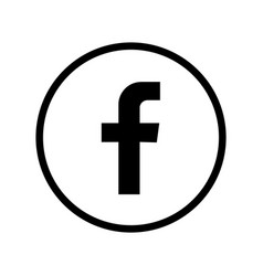 facebook black and whit circle logo vector image