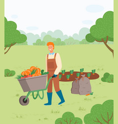 Farmer man with autumn harvest in cart vector
