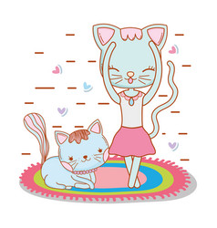 Female cat dancing in the rug with a friend vector