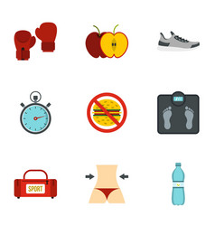 Fitness and diet icons set flat style vector