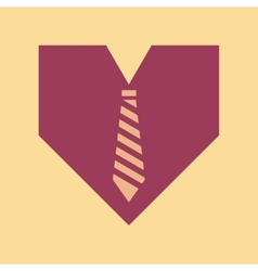 Flat icon on stylish background heart tie vector