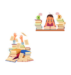 Flat stressed exhausted girl hand from book vector