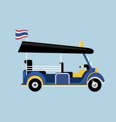 Flat tuk tuk in thailand with thai flag vector