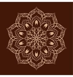 Flower mandala over dark brown vector image